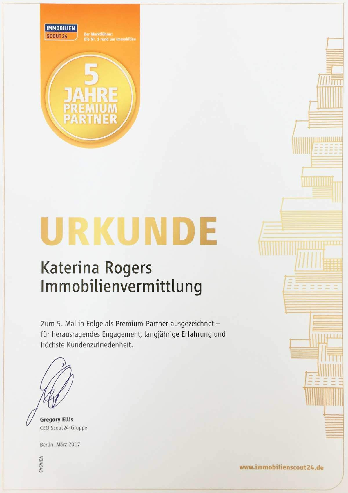 """Von dem größten Immobilienportal in Deutschland Immobilienscout24 sind wir zum 5. Mal in folge als """"Premium Partner"""" gekürt worden."""