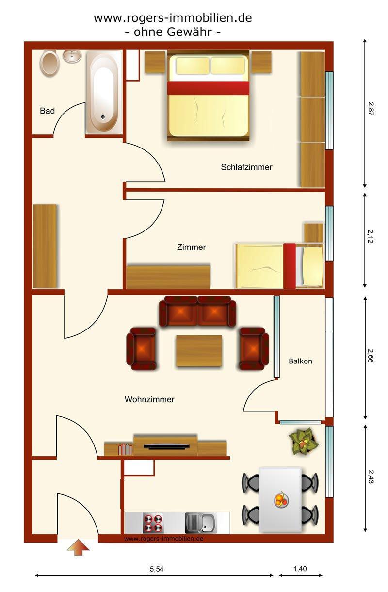 neuhausen gut geschnittene 2 5 zi wohnung im dg. Black Bedroom Furniture Sets. Home Design Ideas