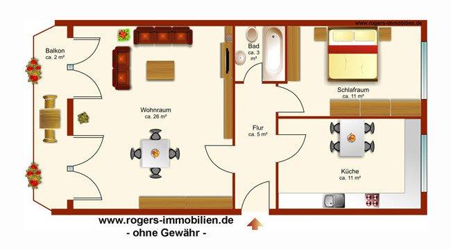Grundriss 2 Zi Whg München Sendling