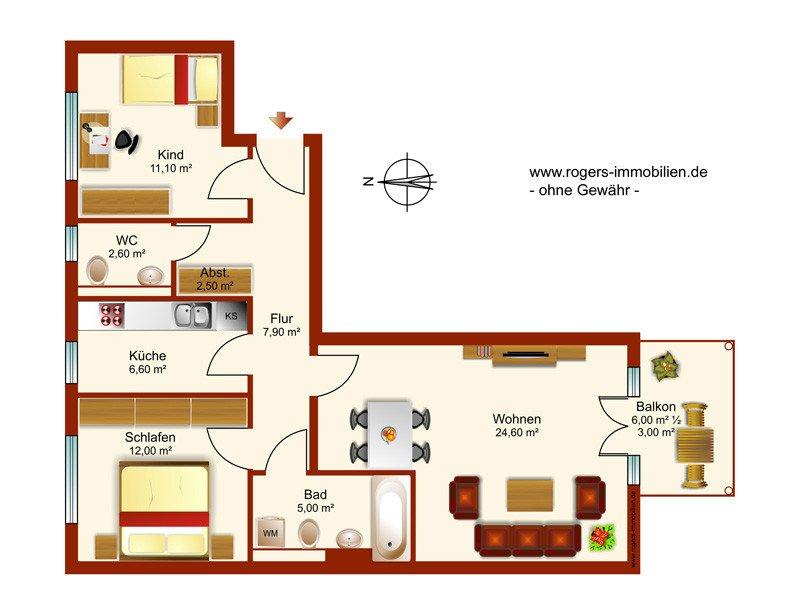 Grundriss wohnung  Neubiberg: Neuwertige Wohnung mit ausgezeichnetem Grundriss