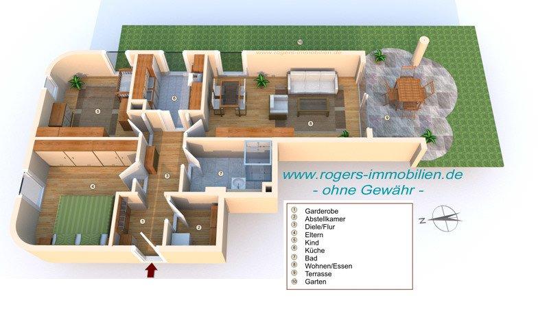 München Haidhausen Immobilienmakler Gartenwohnung 3D Grundriss