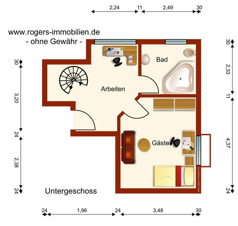 München Moosach Immobilienmakler Gartenwohnung Grundriss-UG
