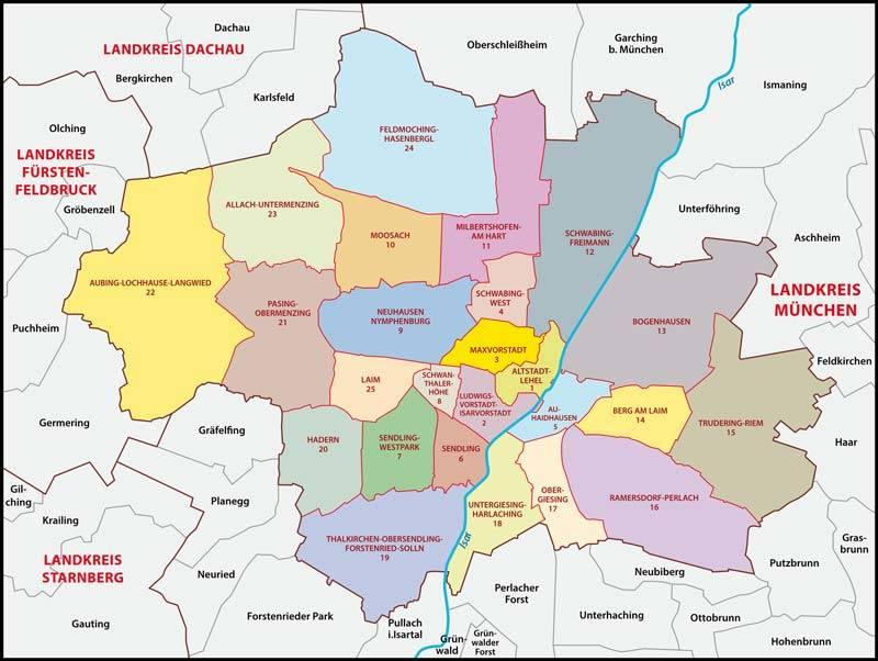 Stadtteile München Karte