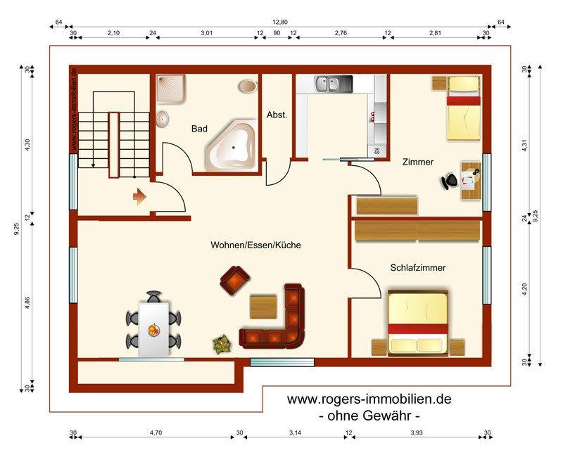 München Feldmoching Immobilienmakler, Dachgeschosswohnung, Grundriss