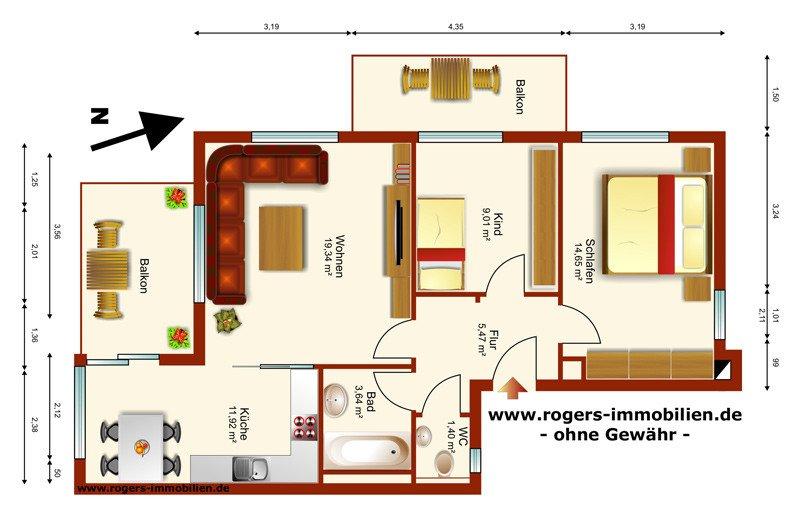 Zu vermieten, Forstenried Ost, 3 Zi-Wohnung, schöner Grundriss