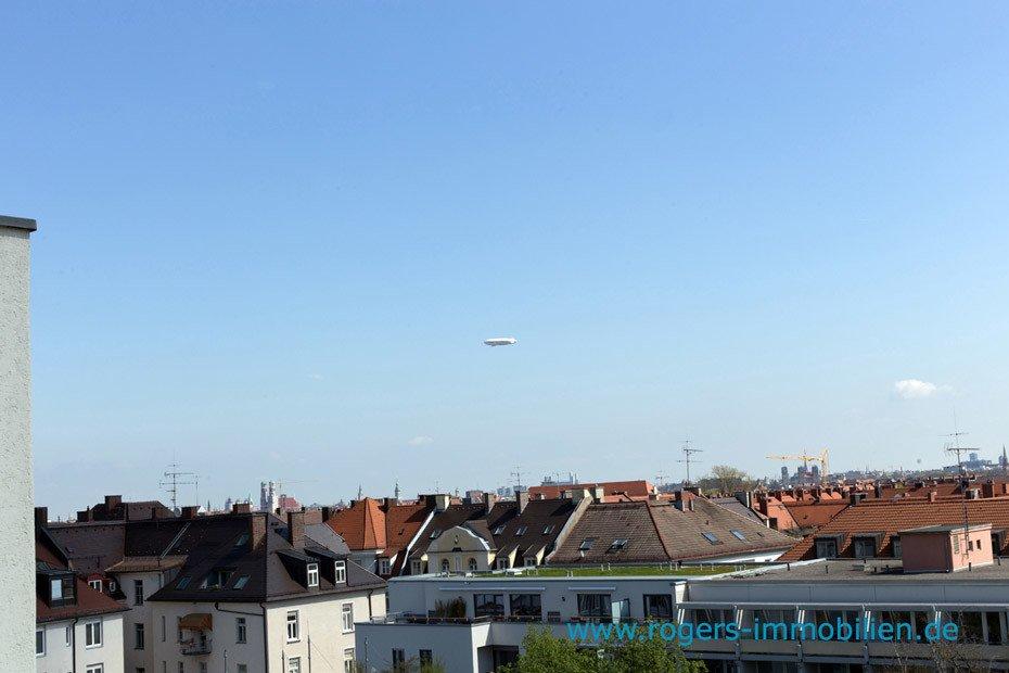 München Sendling Immobilienmakler, DG Wohnung Blick, über die Dächer