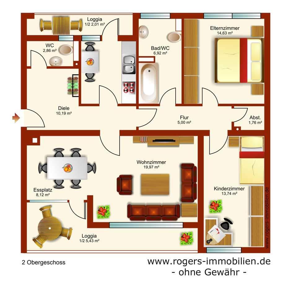 Unterhaching Immobilienmakler, Wohnung verkaufen, Grundriss
