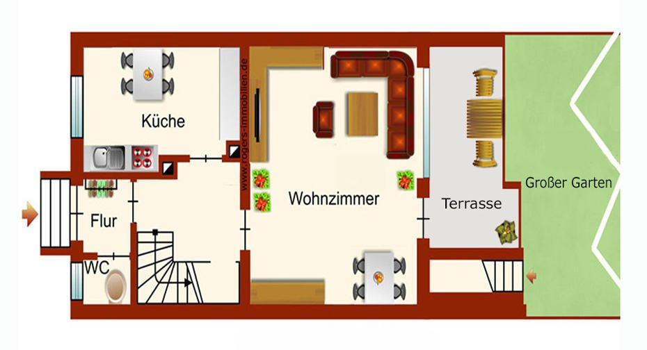 München Planegg Immobilienmakler 4,5 Zi-Gartenwohnung Vermietung Grundriss-EG