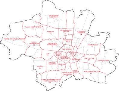 Karte München mit den Stadtteilen