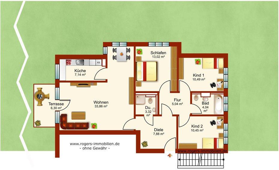 München Obermenzing Immobilienmakler, Gartenwohnung verkaufen, Grundriss