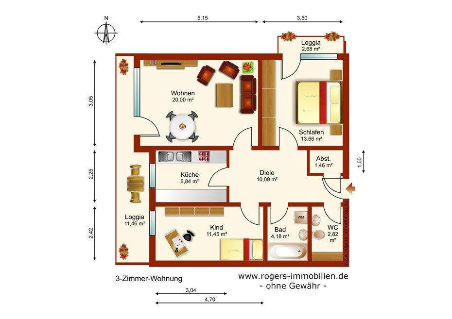 München Perlach Immobilienmakler, Wohnung, grundriss