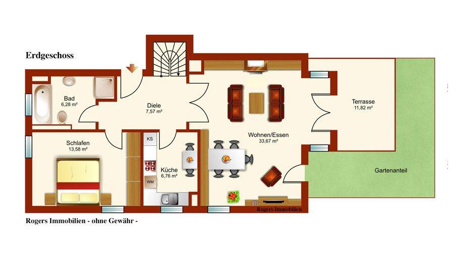 München Solln Immobilienmakler, Wohnung vermieten, Grundriss Erdgeschoss