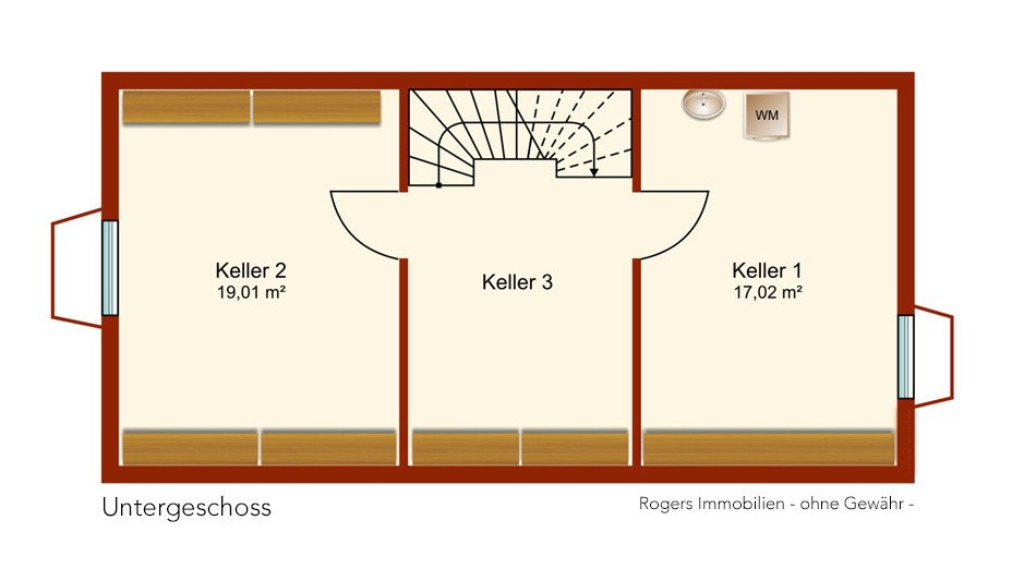 München Feldmoching Immobilienmakler, Reihenhaus verkaufen, Grundriss Kellergeschoss
