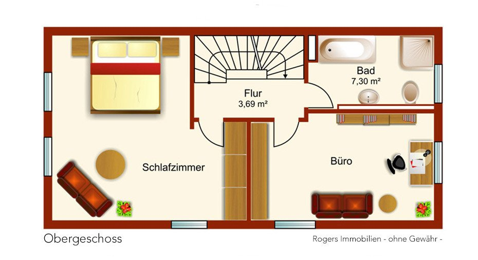 München Feldmoching Immobilienmakler, Reihenhaus verkaufen, Grundriss Obergeschoss