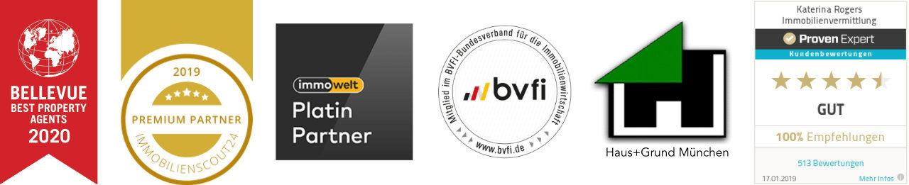 Auszeichnungen 2019 von Bellevue, Immobiliensout24, Immobilienwelt, Haus und Grund, bvfi und Proven
