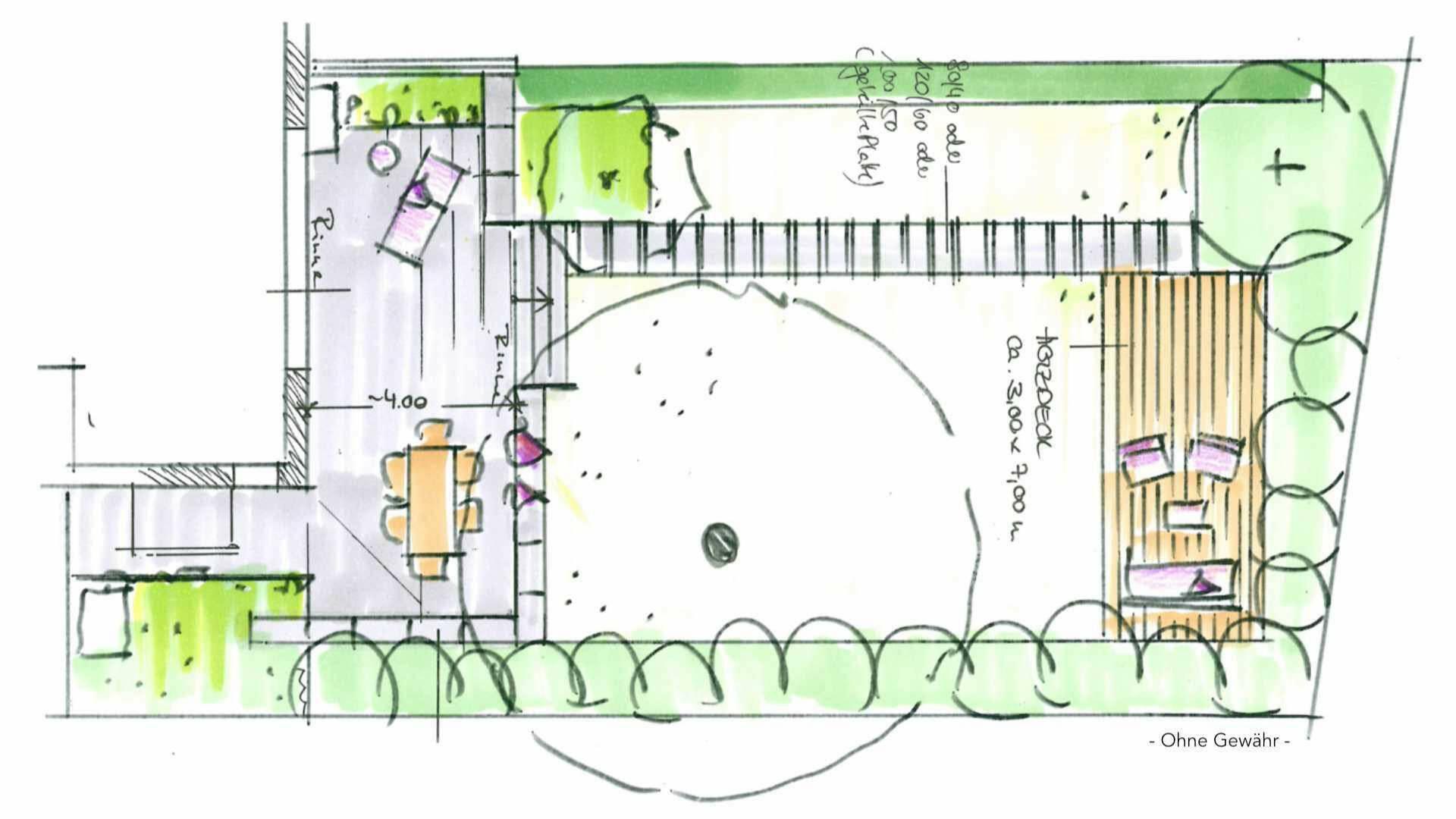 Bogenhausen DHH Grundriss Gartenplan